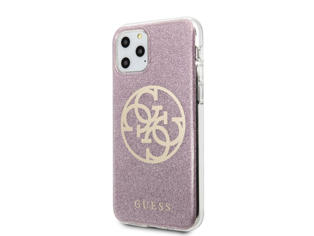 Ochranný kryt na iPhone 11 Pro MAX - Guess, Glitter 4G Circle Pink