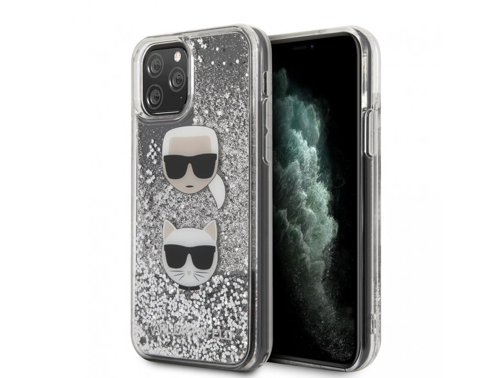 Ochranný kryt na iPhone 11 Pro MAX - Karl Lagerfeld, Heads Glitter Silver