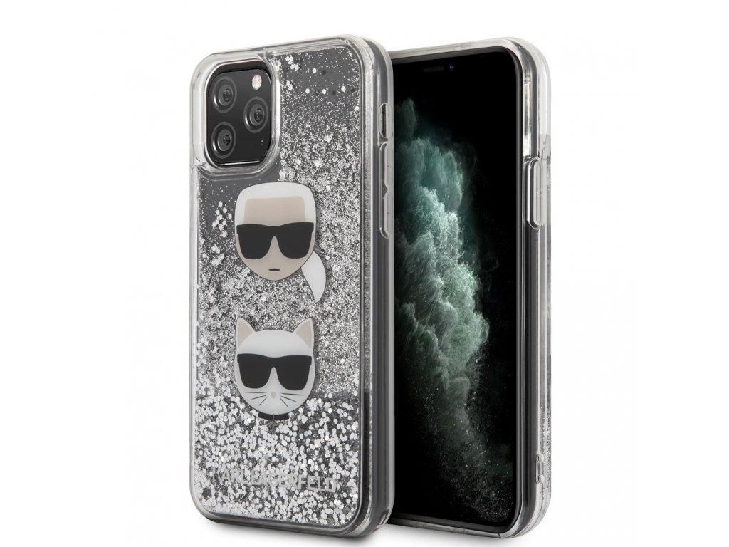 Ochranný kryt na iPhone 11 Pro - Karl Lagerfeld, Heads Glitter Silver