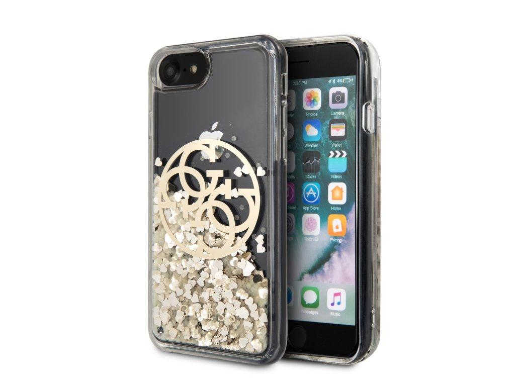 Ochranný kryt pro iPhone 7 / 8 / SE (2020) - Guess, Circle Glitter Gold