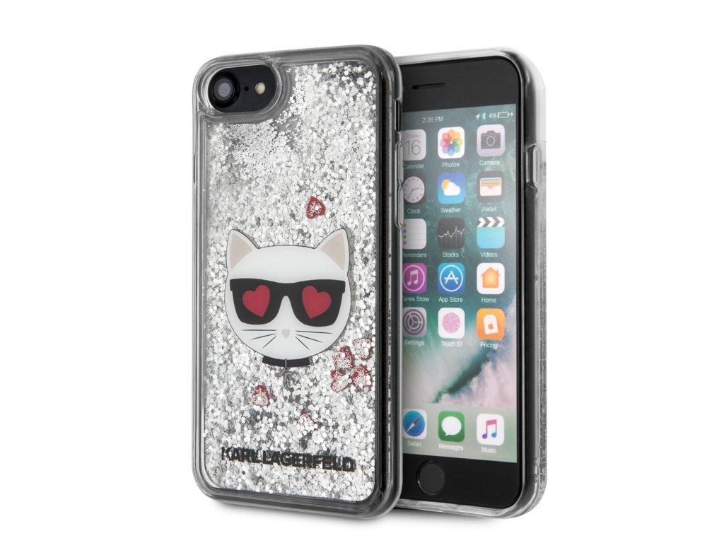 Ochranný kryt pro iPhone 7 / 8 / SE (2020) - Karl Lagerfeld, Heads Glitter Silver