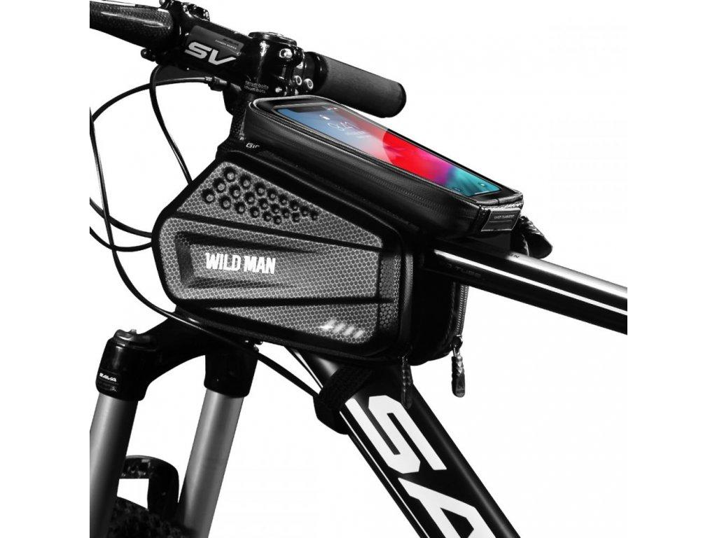 Cyklotaška / brašna na kolo s otvorem na mobilní telefon - WildMan, Sakwa XXL Black