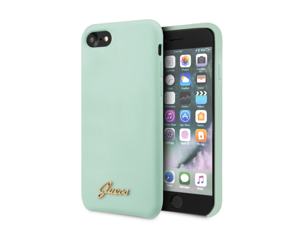 Ochranný kryt pro iPhone 7 / 8 / SE (2020) - Guess, Silicone Retro Green