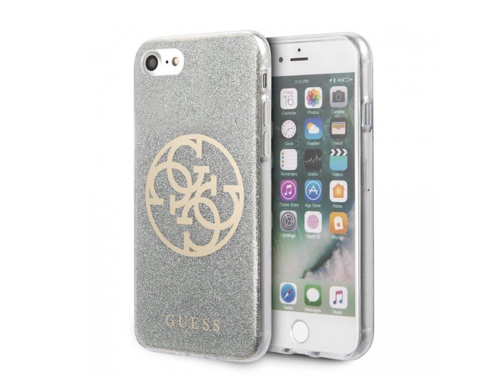 Ochranný kryt pro iPhone 7 / 8 / SE (2020) - Guess, Glitter 4G Circle Gray