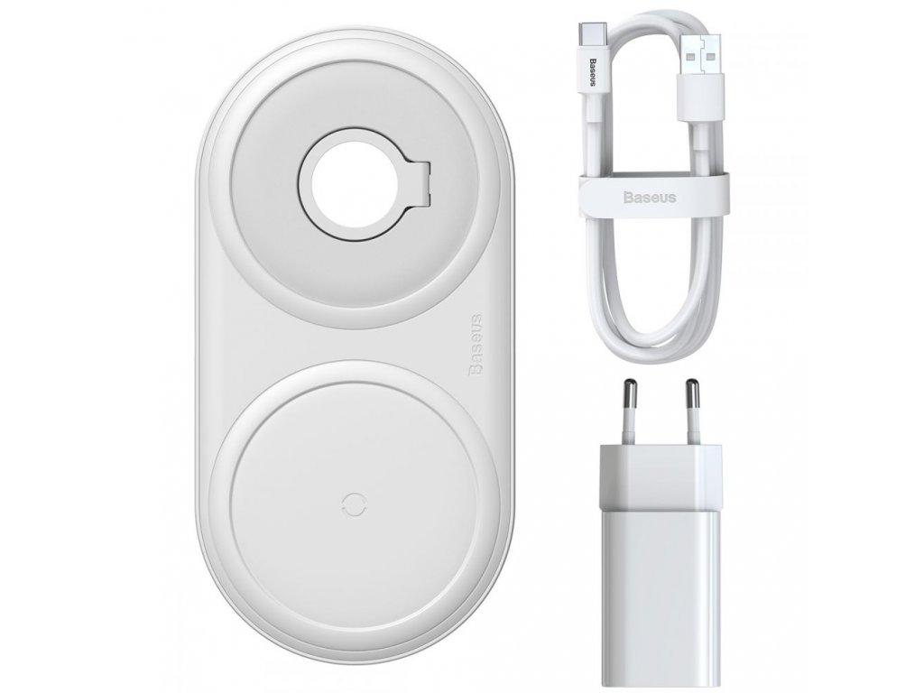 Bezdrátová rychlá nabíječka pro iPhone a stojánek pro Apple Watch - Baseus, Planet 2in1 Black