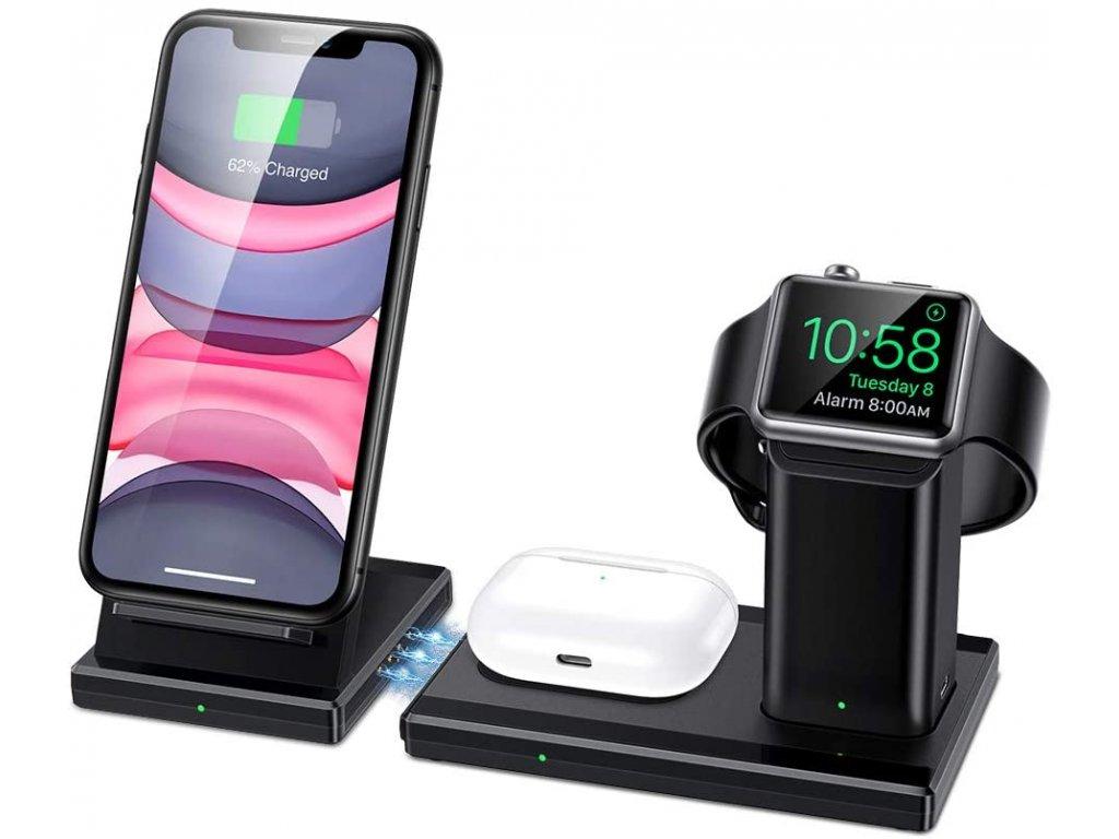 Bezdrátová nabíječka pro iPhone, Apple Watch a AirPods - ESR, 3in1 Wireless Station