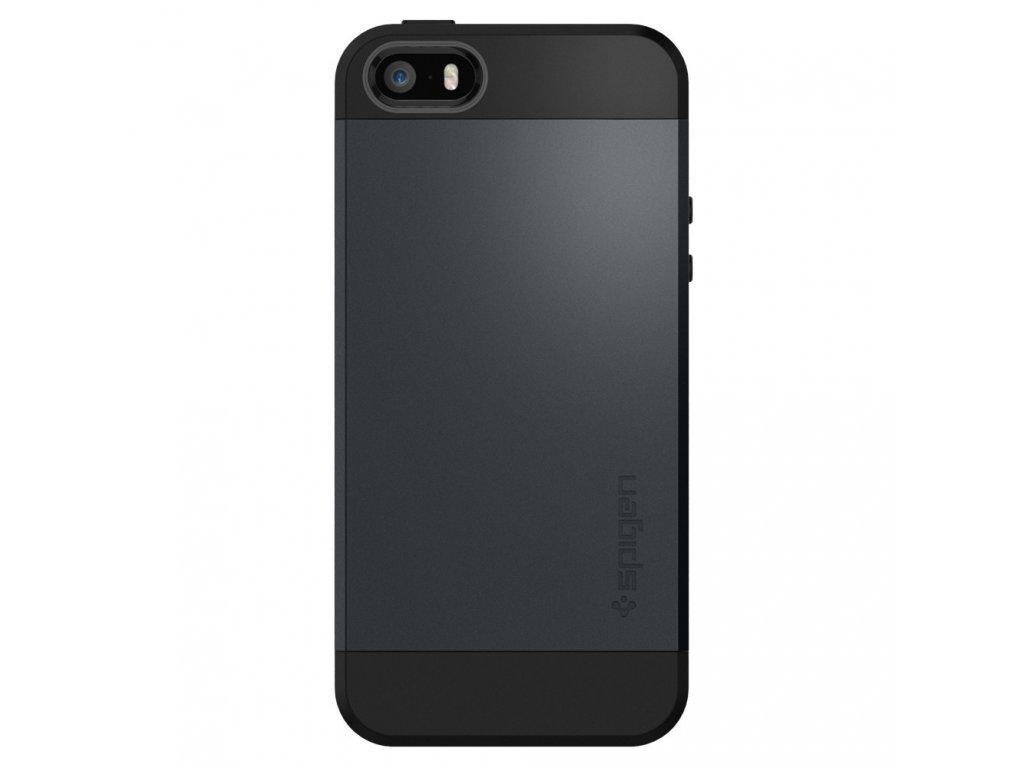 Pouzdro / kryt pro Apple iPhone 5 / 5S / SE - Spigen, Slim Armor Metal Slate