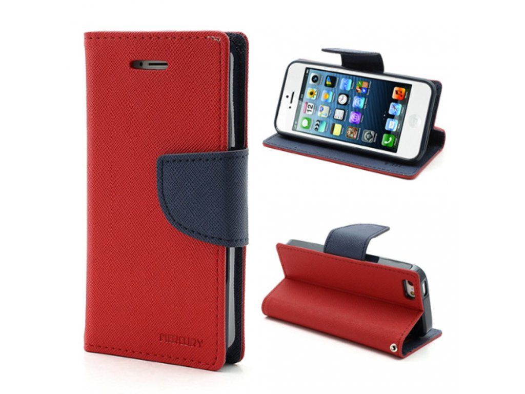 Pouzdro / kryt pro Apple iPhone 5 / 5S / SE - Mercury, Fancy Diary Red/Navy