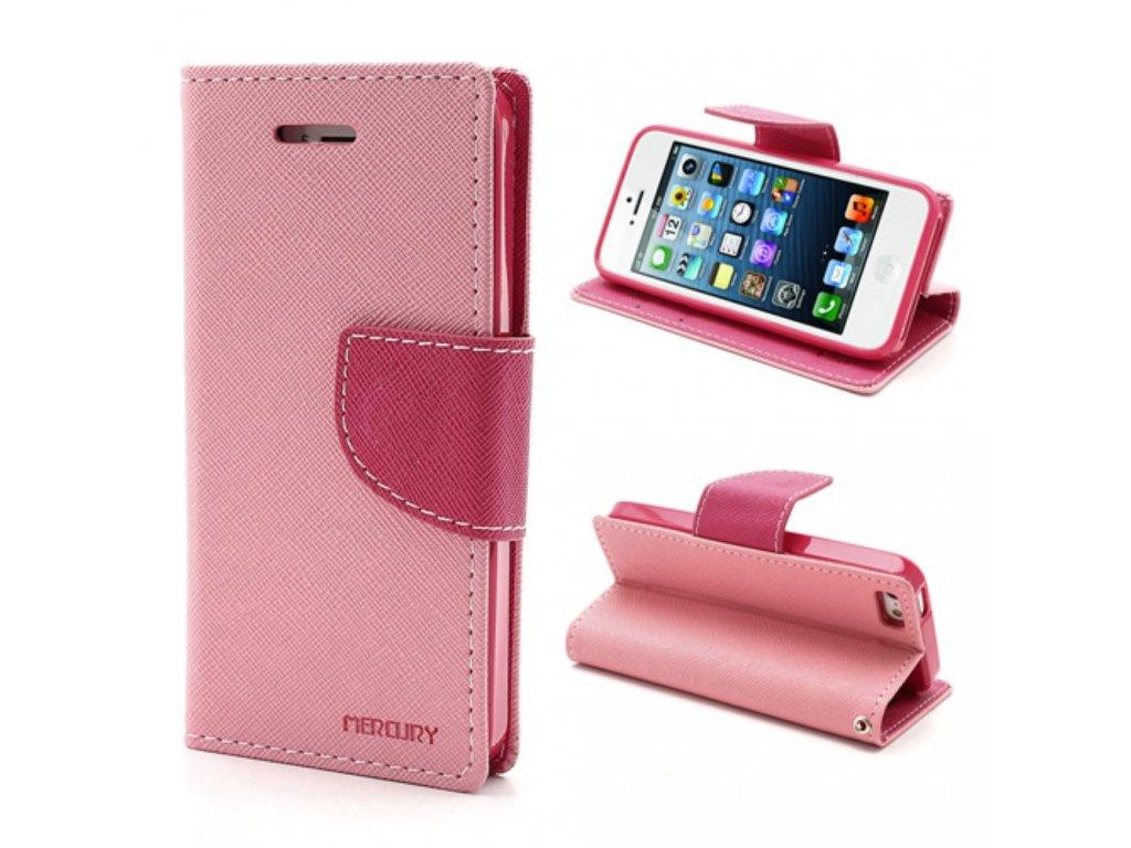 Pouzdro / kryt pro Apple iPhone 5 / 5S / SE - Mercury, Fancy Diary Pink/Hotpink