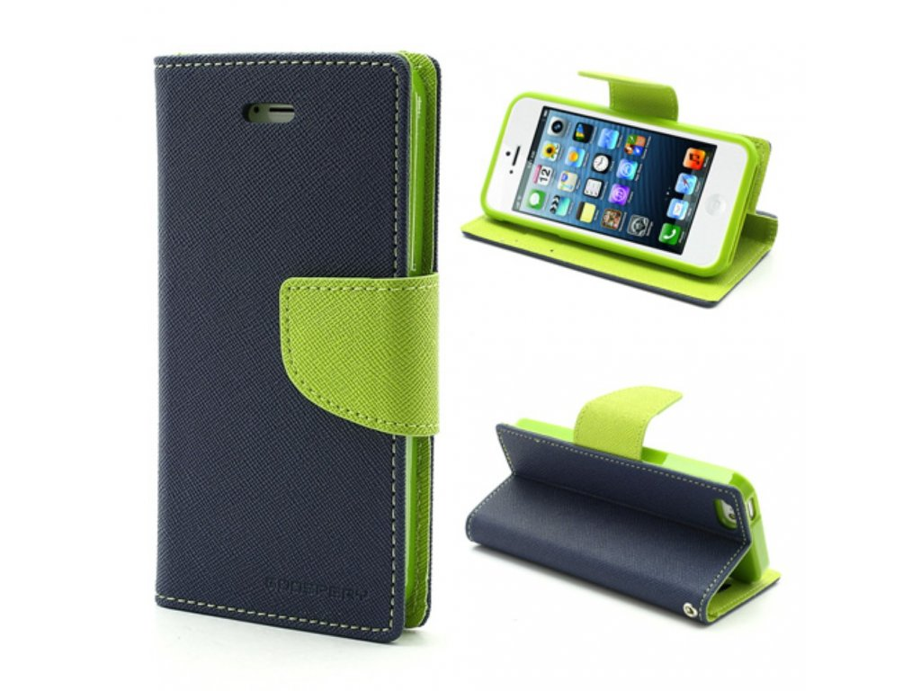 Pouzdro / kryt pro Apple iPhone 5 / 5S / SE - Mercury, Fancy Diary Navy/Lime