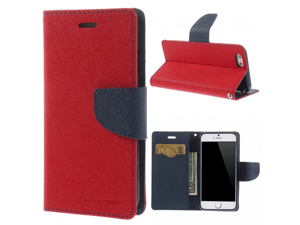 Pouzdro / kryt pro Apple iPhone 6 / 6S - Mercury, Fancy Diary Red/Navy