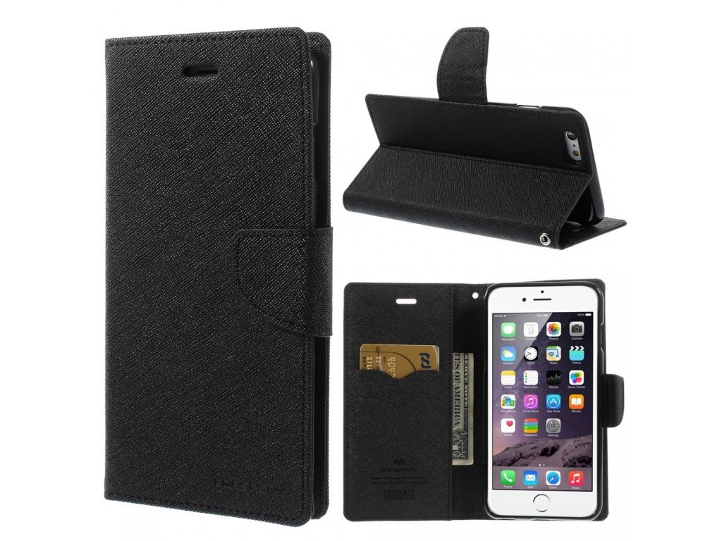 Pouzdro / kryt pro Apple iPhone 6 Plus / 6S Plus - Mercury, Fancy Diary BLACK/BLACK