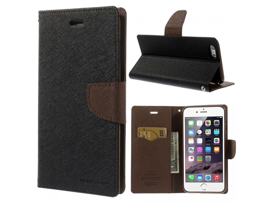 Pouzdro / kryt pro Apple iPhone 6 Plus / 6S Plus - Mercury, Fancy Diary BLACK/BROWN
