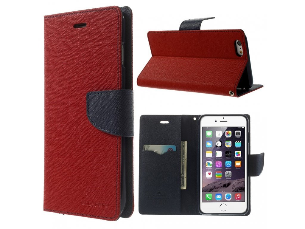 Pouzdro / kryt pro Apple iPhone 6 Plus / 6S Plus - Mercury, Fancy Diary RED/NAVY