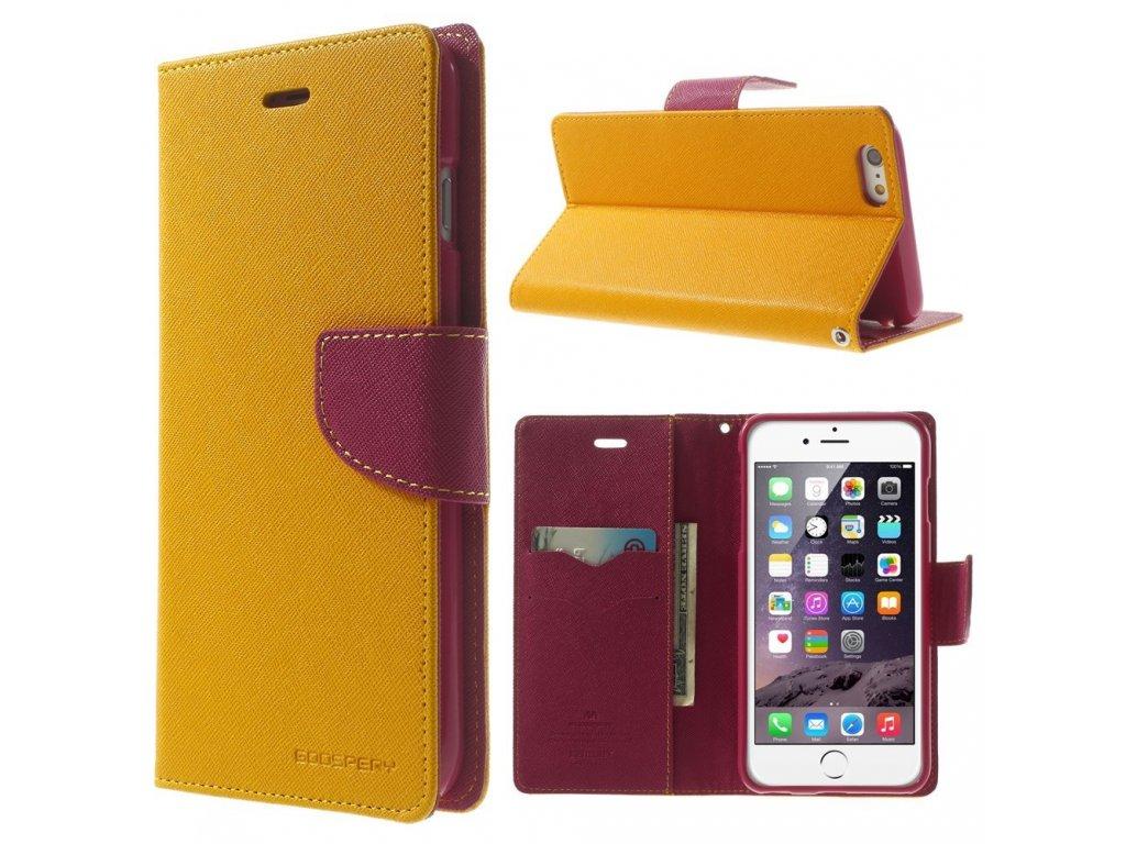 Pouzdro / kryt pro Apple iPhone 6 Plus / 6S Plus - Mercury, Fancy Diary YELLOW/HOTPINK