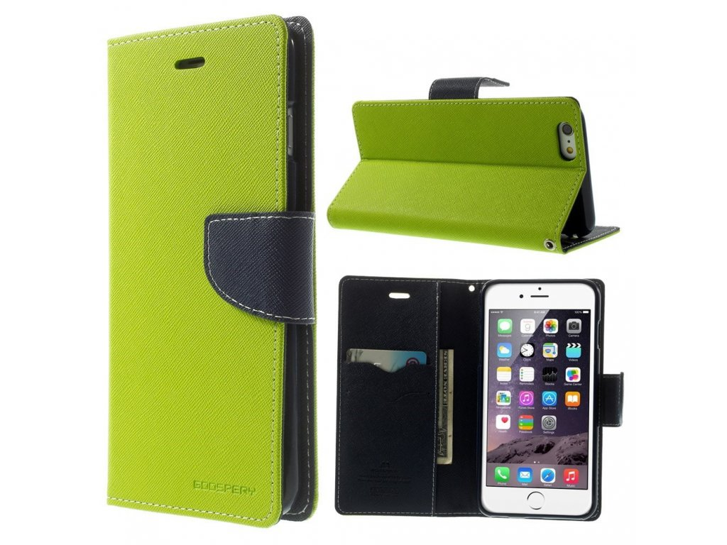 Pouzdro / kryt pro Apple iPhone 6 Plus / 6S Plus - Mercury, Fancy Diary LIME/NAVY