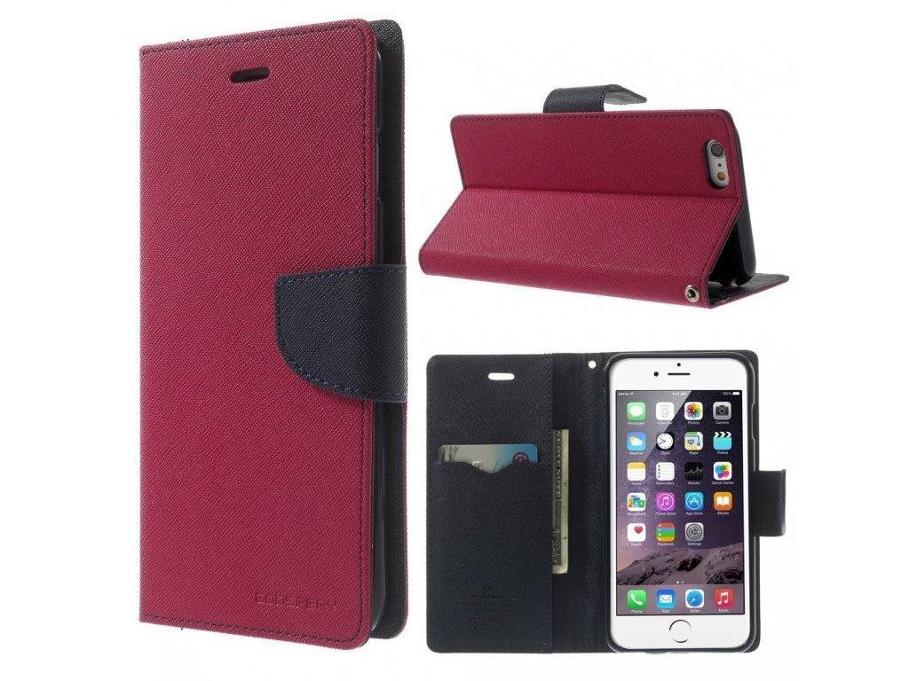 Pouzdro / kryt pro Apple iPhone 6 Plus / 6S Plus - Mercury, Fancy Diary HOTPINK/NAVY