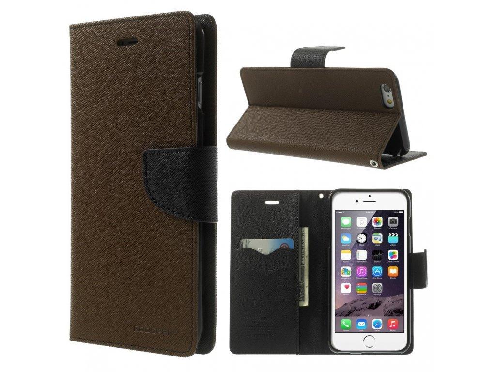 Pouzdro / kryt pro Apple iPhone 6 Plus / 6S Plus - Mercury, Fancy Diary BROWN/BLACK