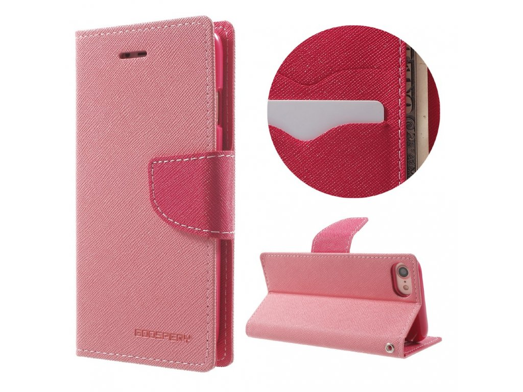 Pouzdro / kryt pro iPhone 7 / 8 / SE (2020) - Mercury, Fancy Diary PINK/HOTPINK