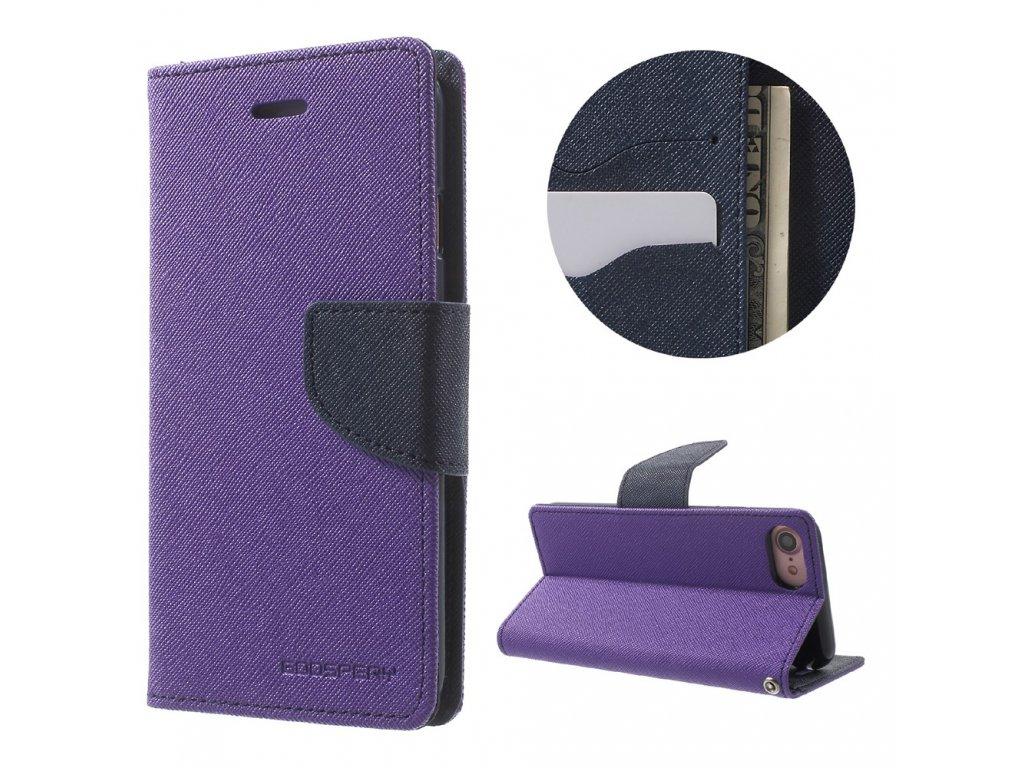 Pouzdro / kryt pro iPhone 7 / 8 - Mercury, Fancy Diary PURPLE/NAVY