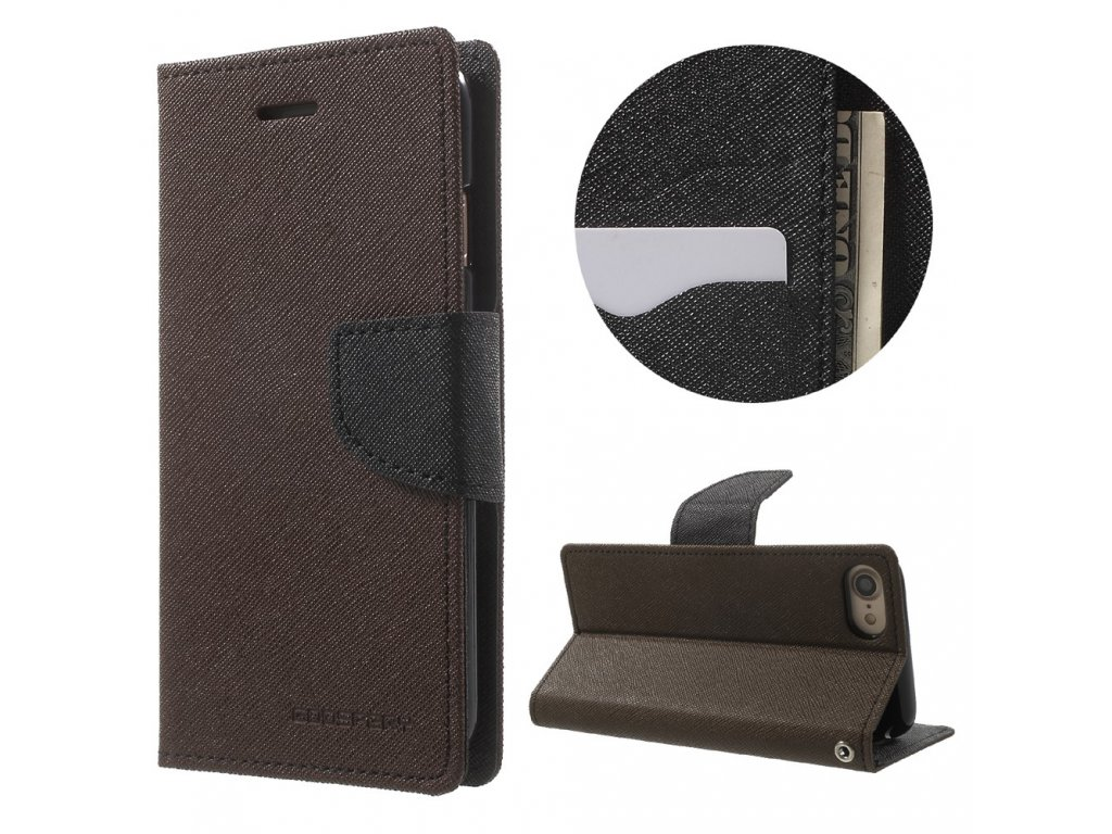 Pouzdro / kryt pro iPhone 7 / 8 / SE (2020) - Mercury, Fancy Diary BROWN/BLACK