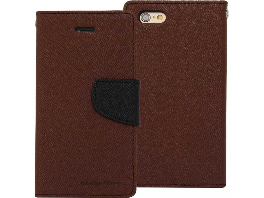 Pouzdro / kryt pro iPhone 7 Plus / 8 Plus - Mercury, Fancy Diary BROWN/BLACK