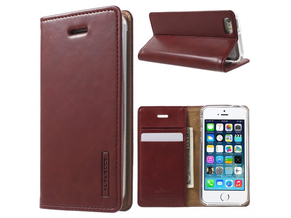 Pouzdro / kryt pro Apple iPhone 5 / 5S / SE - Mercury, Bluemoon Flip Wine