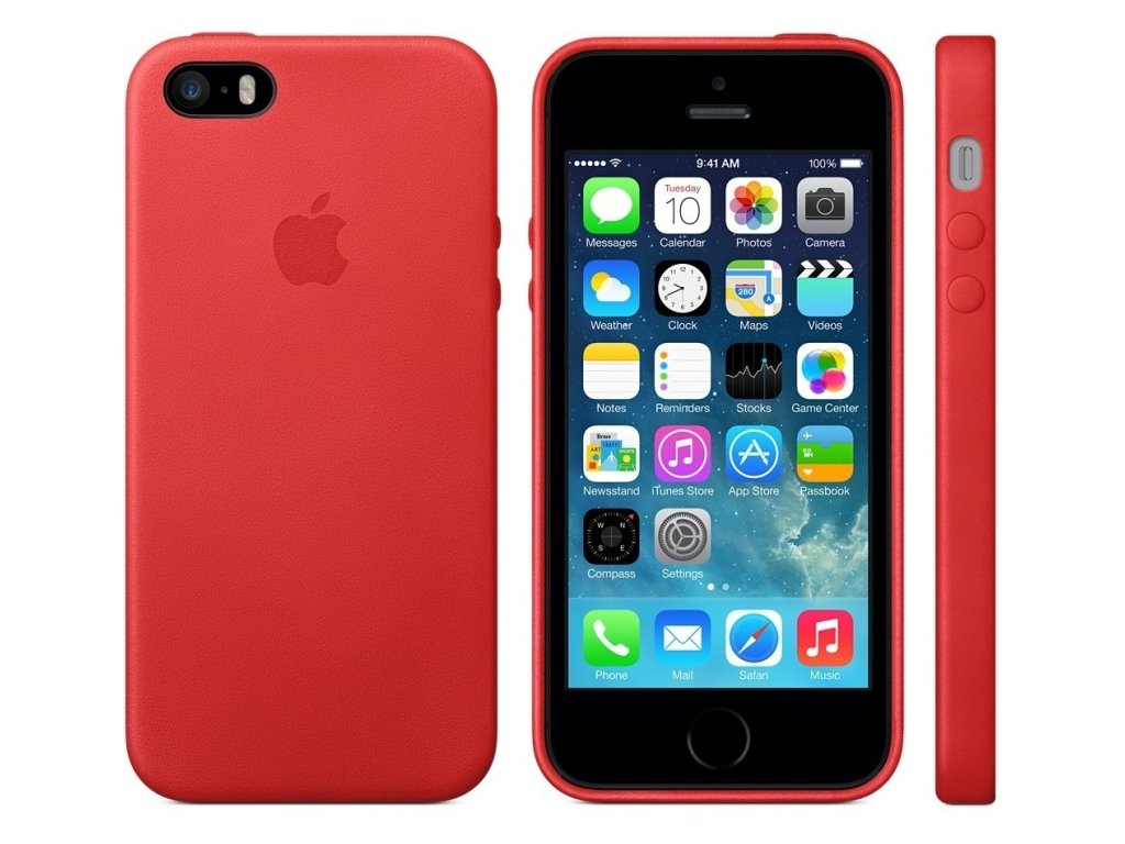 Pouzdro / kryt pro iPhone 5 / 5S / SE - Apple, Leather Case Red (MF046FE/A)