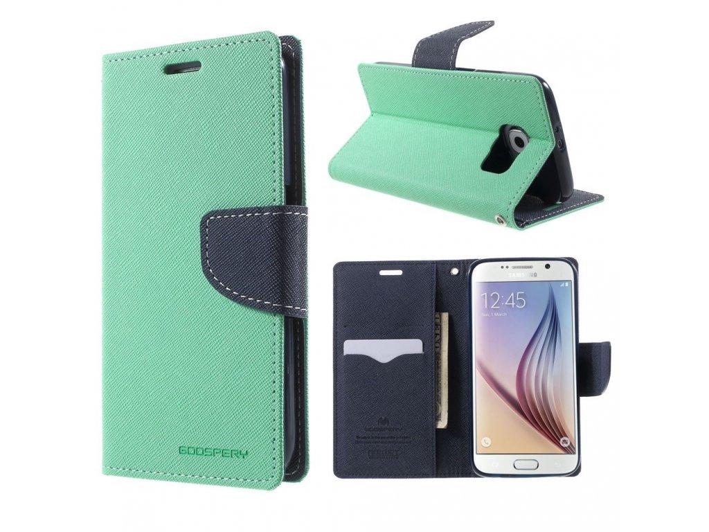 Pouzdro / kryt pro Samsung Galaxy S6 - Mercury, Fancy Diary Mint/Navy