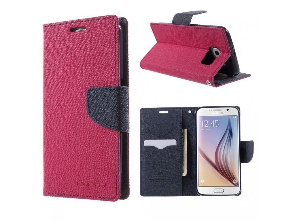 Pouzdro / kryt pro Samsung Galaxy S6 - Mercury, Fancy Diary Hotpink/Navy