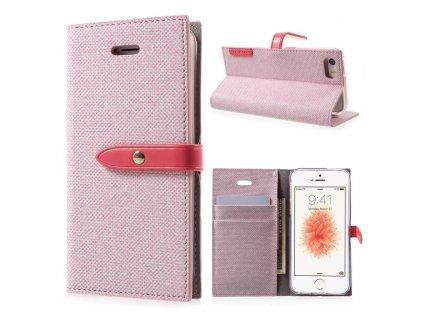 Pouzdro / kryt pro iPhone 5 / 5S / SE - Mercury, Milano Diary PINK/PINK