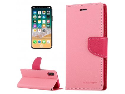 Pouzdro / kryt pro iPhone XS / X - Mercury, Fancy Diary PINK/HOTPINK
