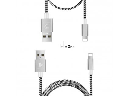 Kabel Lightning pro iPhone a iPad - DuxDucis, 2-PACK SET (100cm+20cm) Silver