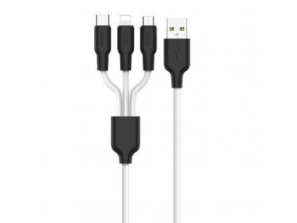 Kabel 3v1 - Hoco, X21 Silicone Black/White (Lightning+Micro+Type-C)