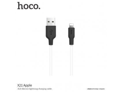 Kabel Lightning pro iPhone a iPad - Hoco, X21 Silicone Black/White