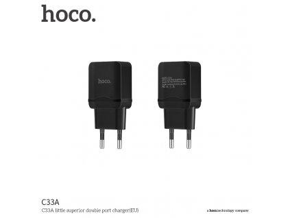 Nabíjecí AC adaptér pro iPhone a iPad - Hoco, C33A Dual 2.4A Black