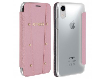 Pouzdro / kryt pro iPhone XR - Guess, Kaia Book RoseGold