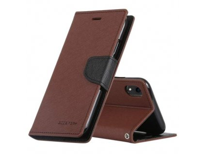 Pouzdro / kryt pro iPhone XR - Mercury, Fancy Diary Brown/Black