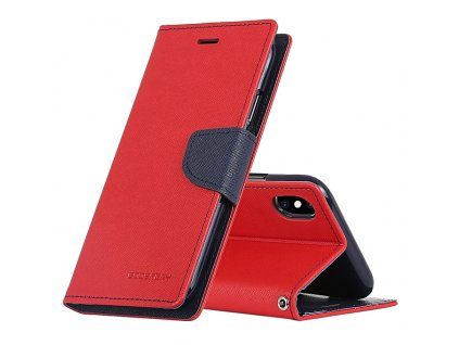 Pouzdro / kryt pro iPhone XS MAX - Mercury, Fancy Diary Red/Navy