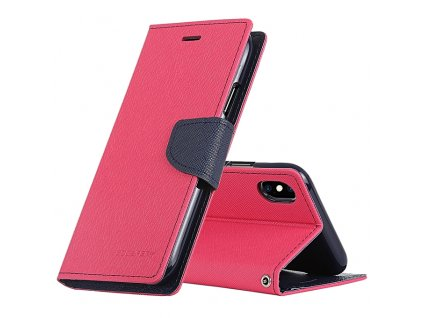 Pouzdro / kryt pro iPhone XS MAX - Mercury, Fancy Diary HotPink/Navy