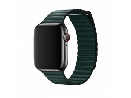 Řemínek pro Apple Watch 42mm / 44mm - Devia, LeatherLoop Forest Green