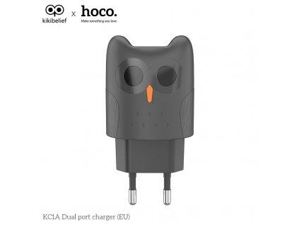 Nabíjecí AC adaptér pro iPhone a iPad - HOCO, KC1A Kikibelief Gray