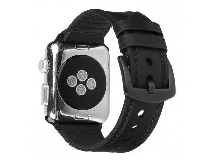 Kožený pásek / řemínek pro Apple Watch 42mm / 44mm - Leather Band, Black