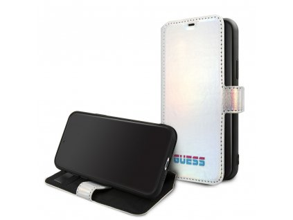 Pouzdro / kryt pro iPhone 11 Pro MAX - Guess, Iridescent Book Silver