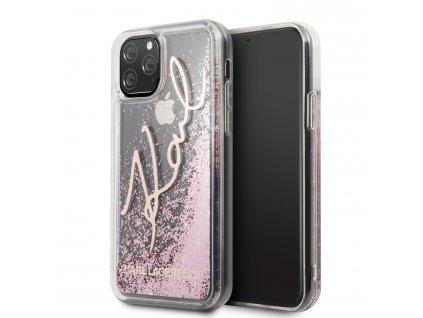 Ochranný kryt na iPhone 11 Pro MAX - Karl Lagerfeld, Glitter Signature Rose