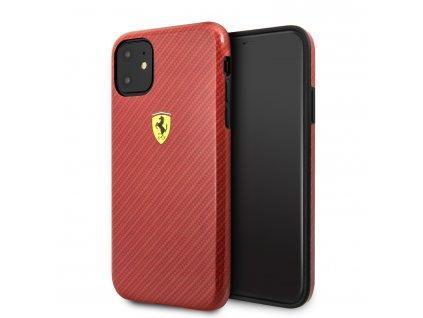 Ochranný kryt na iPhone 11 - Ferrari, Printed Carbon Cover Red