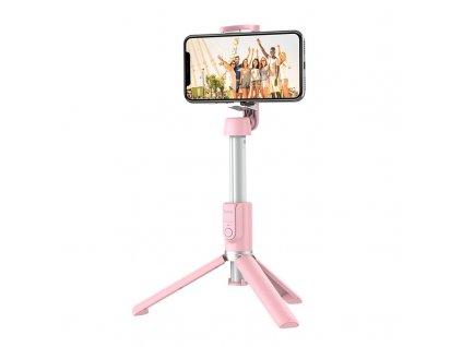 Tripod / bluetooth selfie tyč - Hoco, K11 Pink