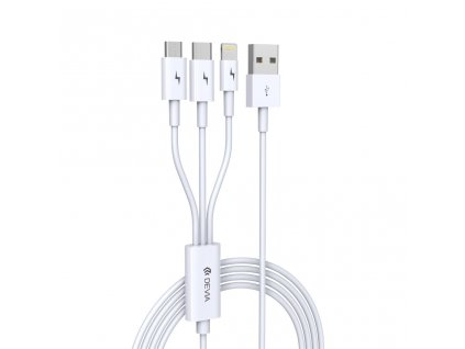 Kabel 3v1 - Devia, Smart White (Lightning+Micro+Type-C)