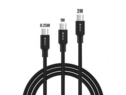 Kabel MICRO-USB - Devia, 3-PACK SET (200cm+100cm+25cm) Black
