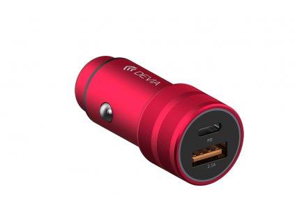 Auto-nabíječka pro iPhone a iPad - Devia, Traveller PD Red